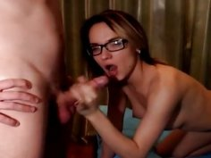 Nerdy Babe Receives a Hot Cum After Being Fucked i