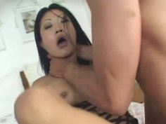 Asian slut Lucy Lee pleases two hot dicks straight away
