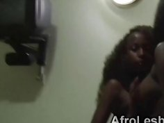 Two busty amateur ebony babes induge in a steamy lesbian adventure