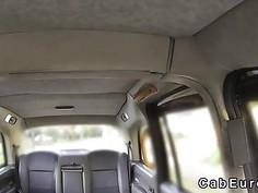 Babe in pantyhose teasing fake taxi driver