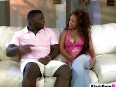 Ebony babe takes long throbbing dong from behind