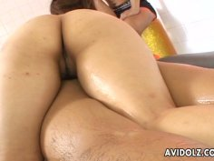 Aroused dude watches his friend receiving Thai massage from fuckable Japanese harlow Mimi Kousaka