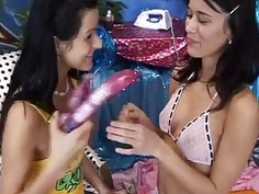 Teen titjob handjob Hot magnificent pals playing with a vibrator