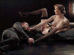 Czech dominatrix in stockings demands ass licking