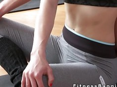 Fitness coach licks and fucks blonde in the gym