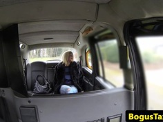 British model fucked to climax in a fake taxi