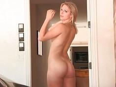 Porn Gorgeous Blonde Home To Strip Down Lacie
