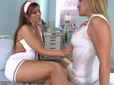 Sensual foreplay by two sextractive nurses