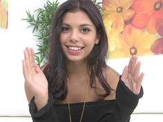 Horny Brazilian teen Gina Valentina talks with the cameraman
