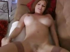 Busty stepmom catches the masturbating boy and rides his dick