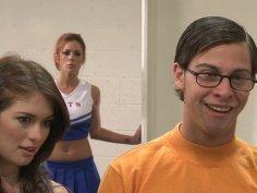 Frisky cheerleader Briana Blair ardently fucks in the classroom