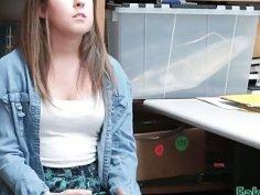Teen shoplifter Brooke Bliss getting fucked hard inside the office