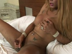 Blonde ladyman Mariana Fenix strokes her dick and shows her nasty ass