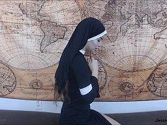 Possessed nun gets anal creampie