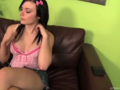 Threesome on the couch with Kayla Carrera, Alexis Blaze and Evan Stone