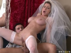Slutty bride Kayla Paige can't wait till honey moon to fuck her husband