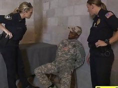 Babes in cop uniforms flaunt huge boobs and get fucked by fake black soldier