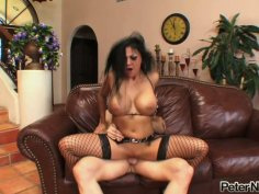 Raunchy brunette whore Audrey Bitoni gives deepthroat blowjob and rides a hard rod like crazy