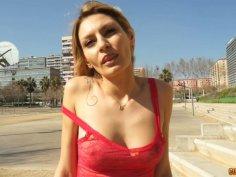 Kinky blonde bitch Claudia Shotz poses on cam showing her skinny body