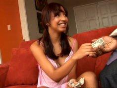 Sweet brunette teen Veronique Vega gives blowjob to her black lover