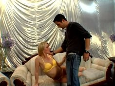 Fanciable blonde Sharon gives deep blowjob and gets her pussy licked