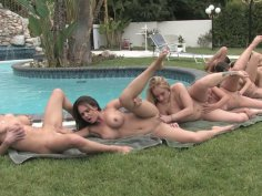 Penny Flame, Louisa Lanewood, Ariel X, Rachel Roxxx, Aline and Holly West in lesbian fest by the pool
