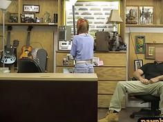 Skinny redhead babe gets twat screwed by pawnshop owner