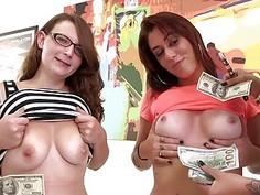 Sexy women flashed their big boobies