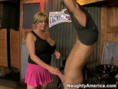 Fat and sexy blonde Mishka gives blowjob and gets fingered on the billiard table