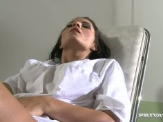 Horny doctor Lucy Belle wanks in her office