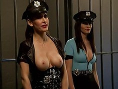 Two luscious women foursome in jail cell