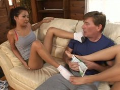 Salty Asian babes Lana Croft and Nautica Thorn get their feet sucked by foot fetishist