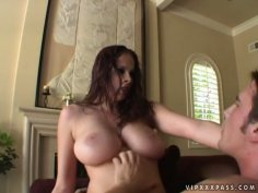 Buxom clown face Gianna Michaels rides a stiff hot and long tool joyfully