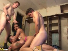 Weird brunette pleases three dicks in dirty deserted place ardently