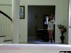 Hottie Lily Jordan calls and plays with Jenna Sativa at home