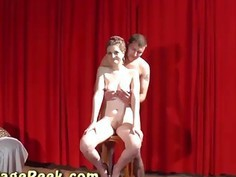 Cute chick spreads legs for strangers dick at the CASTING
