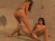 Lesbians showering and squirting