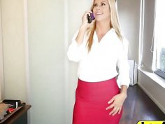 Lesbian milf Alexis takes strap on from behind