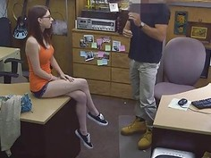 Babe in glasses pounded at the pawnshop for diamond ring