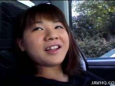 Chubby Asian teen Mai Mariya makes a perfect leg spit after a lunch