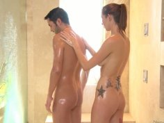 Brunette Callie Nicole pleases a dude with massage and a stout blowjob