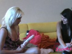 Crummy blonde girl is getting toy fucked having fun with Zuzinka