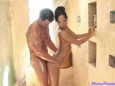 The queen of Nuru massage Asa Akira pleases big hunk