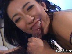 Jaw dropping Japanese slut Ozawa gives a breath-taking blowjob