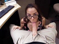 Brunette coed screwed by horny pawn dude
