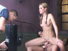 Sophie Moone rides strapon dildo on sexy brunette Zafira